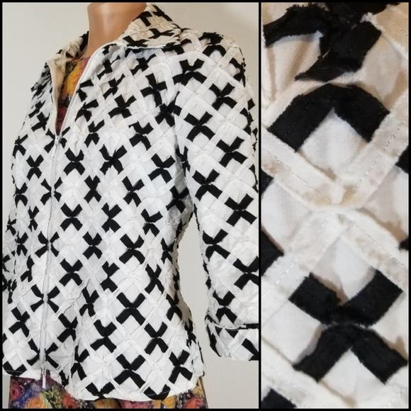 Samuel Dong designer black & white ribbon jacket S